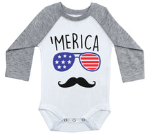 Load image into Gallery viewer, 'Merica / Patriotic Raglan Onesie / Long Sleeve