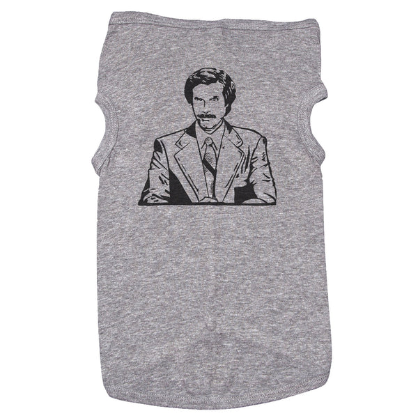 Dog T-Shirt with Ron Burgundy Graphic