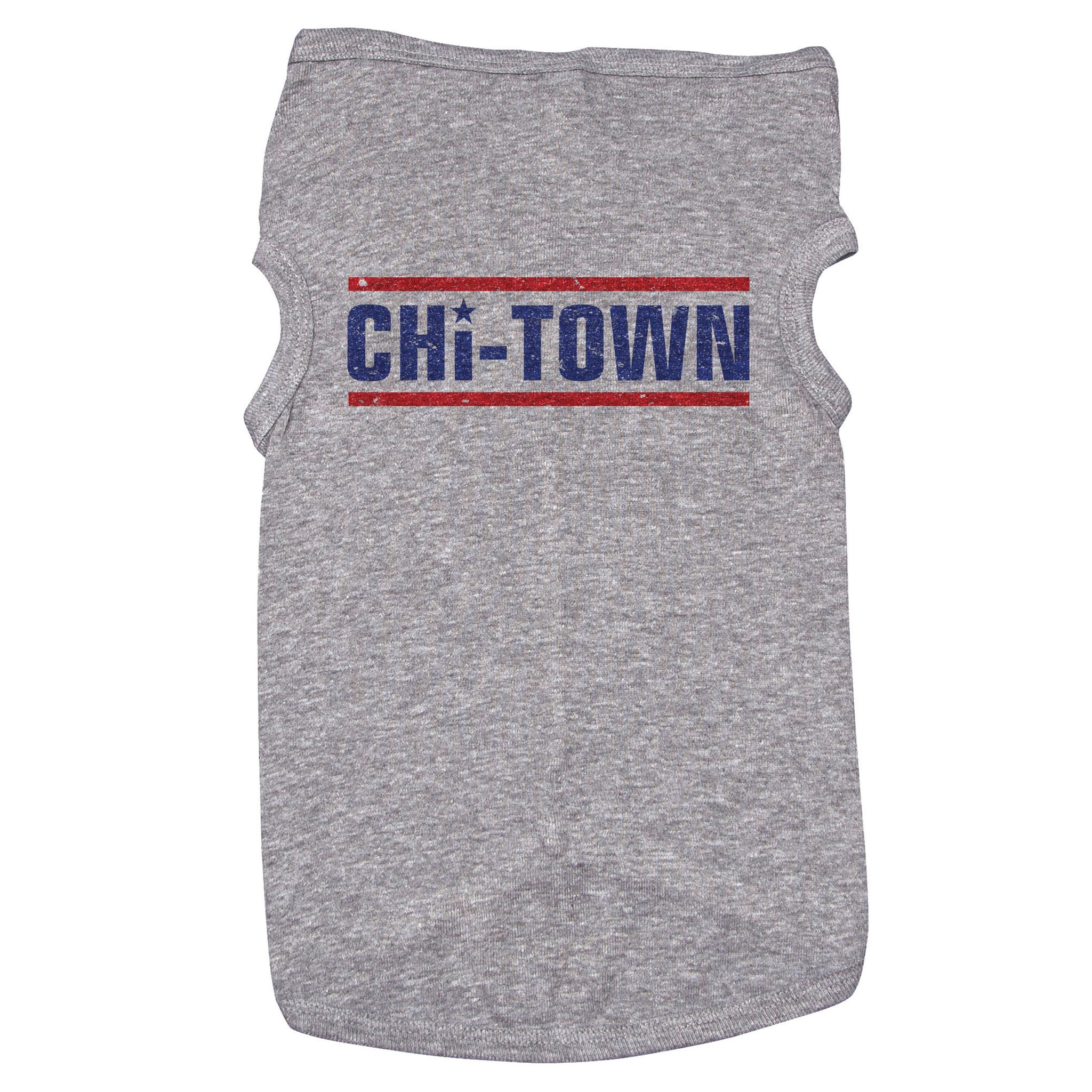 "A dog tank with text that reads ""Chi-Town"" in navy blue with red lines above and below the text. The letter ""I"" is dotted with a star."