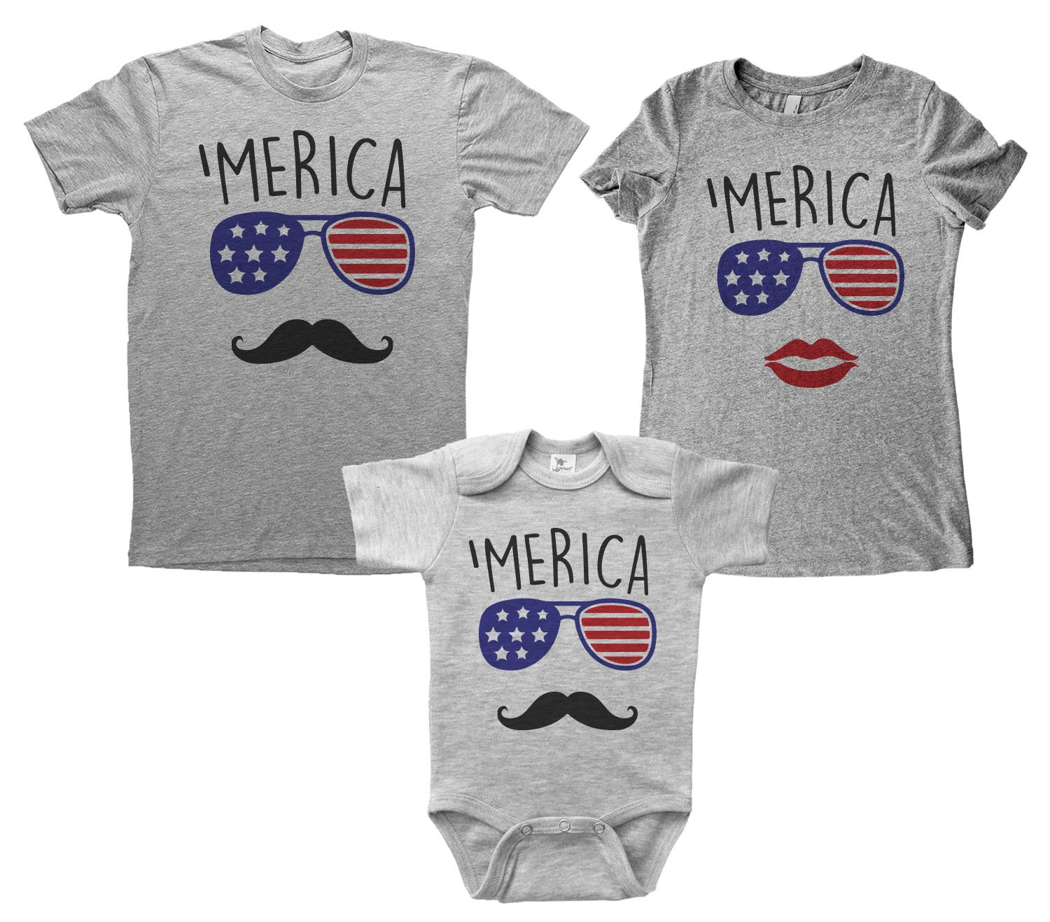 Grey Adult Tee Bundle with 'Merica Design with Aviator Sunglasses with american flag inside paired with mustache or red lips