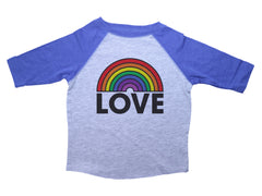 LOVE / Rainbow Love Raglan Baseball Shirt for Toddlers