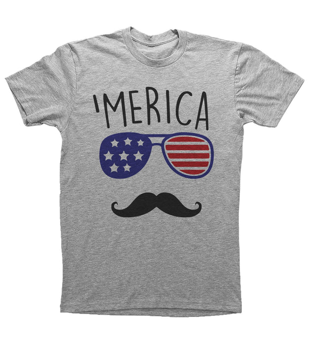 Grey Adult Unisex T-Shirt with 'Merica Graphic
