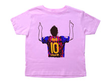 Load image into Gallery viewer, a drawing of Lionel Messi in a colored Argentina Futbol jersey on a short sleeved crewneck shirt for toddlers