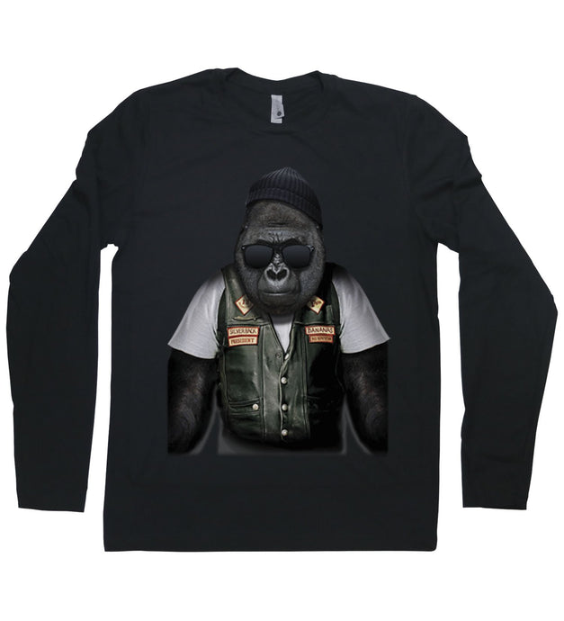 A gorilla dressed as a biker on a long sleeved t-shirt