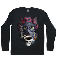 Load image into Gallery viewer, A cat wearing rollers and glasses, drinking a cup of coffee with a mug that says 'dogs suck'