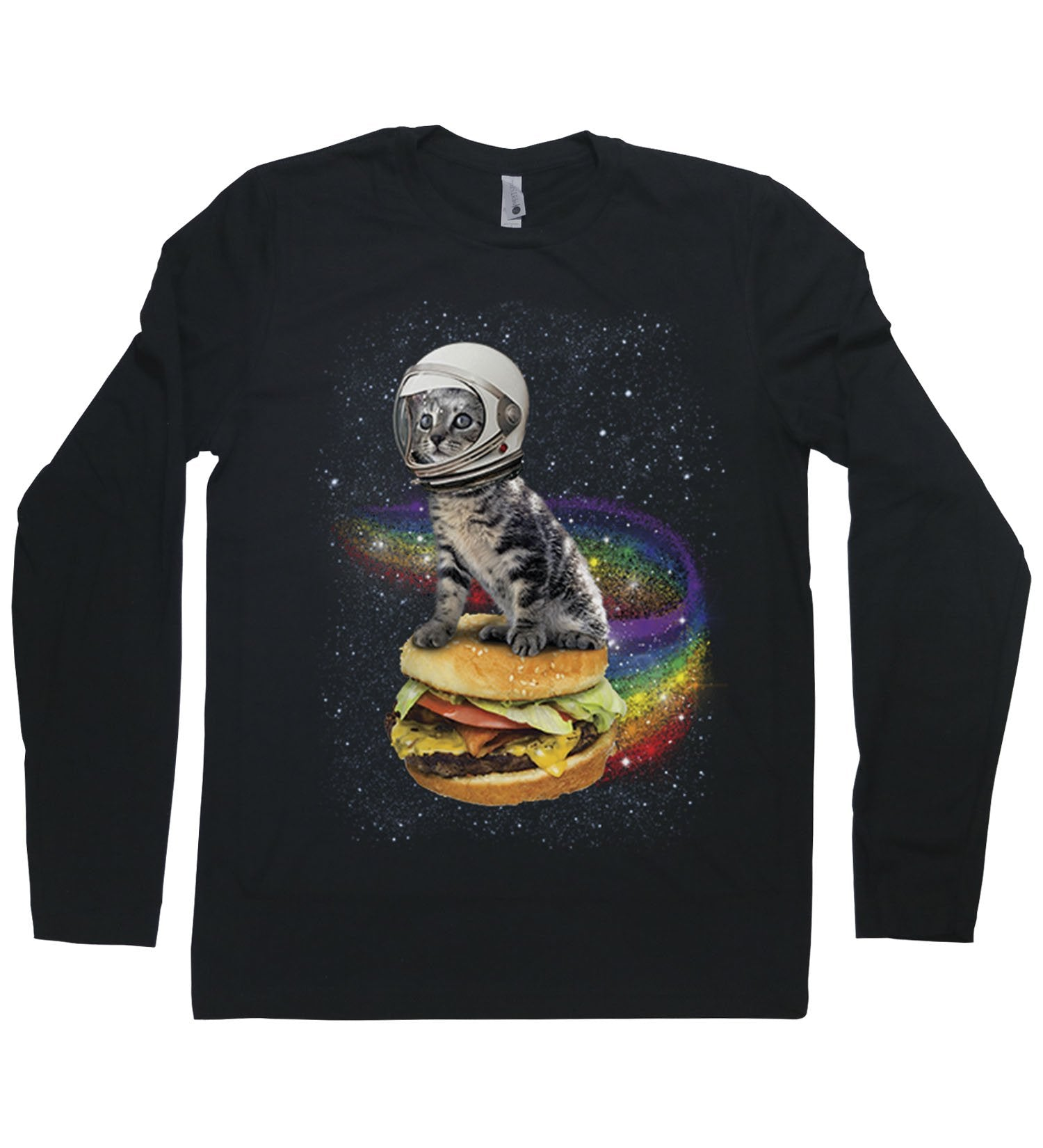 A cat with an astronaut helmet riding a cheeseburger through space with a rainbow trailing behind