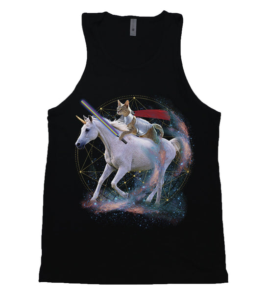 A cat wearing gladiator-style armor with a red cape riding a unicorn through outer space.