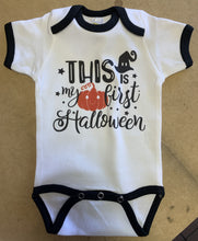 Load image into Gallery viewer, This Is My First Halloween / Ringer Onesie