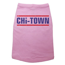 "Load image into Gallery viewer, A dog tank with text that reads ""Chi-Town"" in navy blue with red lines above and below the text. The letter ""I"" is dotted with a star."