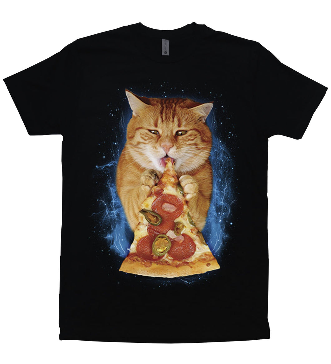 A hungry orange cat eating a slice of pepperoni and jalapeno pizza