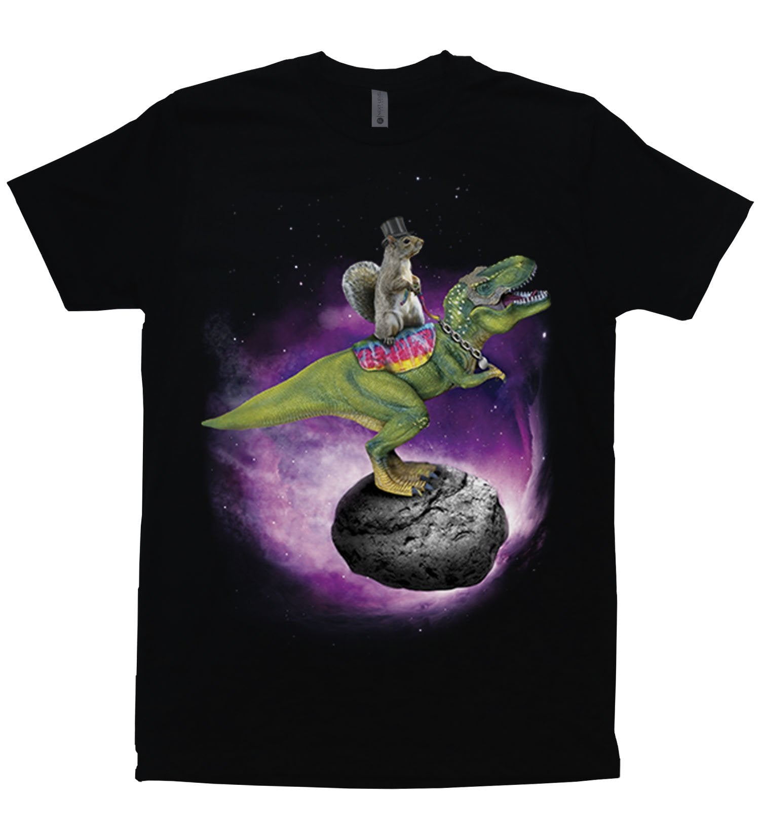 A squirrel wearing a tophat riding a t-rex dinosaur that is standing atop an asteroid in space