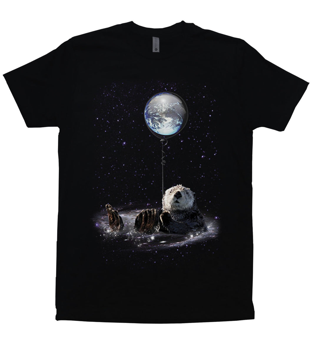 An otter bathing in a cosmic swirl in outer space holding a baloon with the earth inside it.