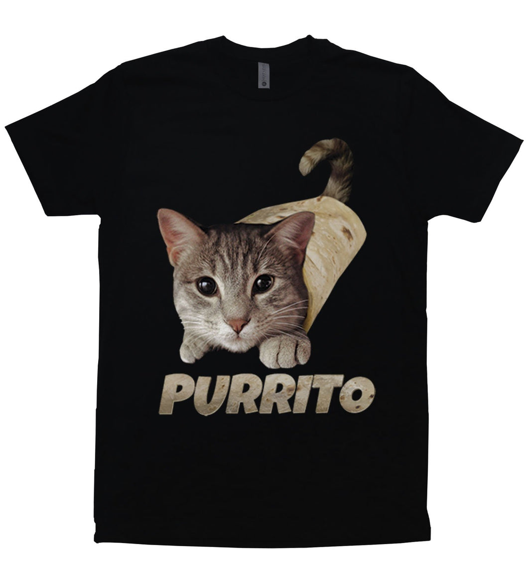 A cat rolled in a burrito with the words