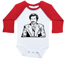 Load image into Gallery viewer, Ron Burgundy / Raglan Onesie / Long Sleeve