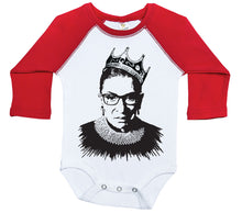 Load image into Gallery viewer, Notorious RBG / Ruth Bader Raglan Onesie / Long Sleeve