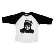 Load image into Gallery viewer, Black & White Toddler Raglan T-Shirt with Biggie Smalls Graphic