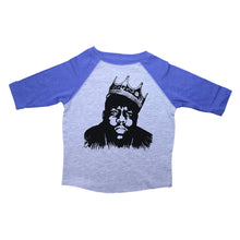 Load image into Gallery viewer, Blue & Grey Toddler Raglan T-Shirt with Biggie Smalls Graphic