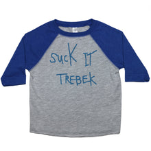 Load image into Gallery viewer, Blue & Grey Toddler Raglan T-Shirt with Suck it Trebek Graphic