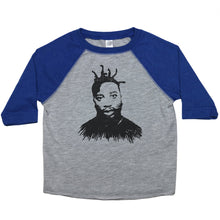 Load image into Gallery viewer, Blue & Grey Toddler Raglan T-Shirt with Ol' Dirty Bastard Graphic