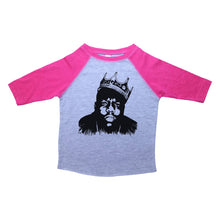Load image into Gallery viewer, Pink & Grey White Toddler Raglan T-Shirt with Biggie Smalls Graphic