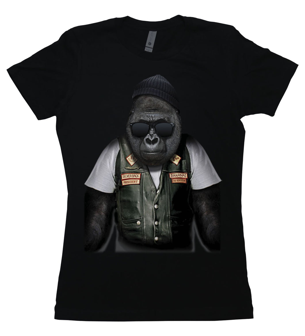 A gorilla dressed as a biker on a t-shirt