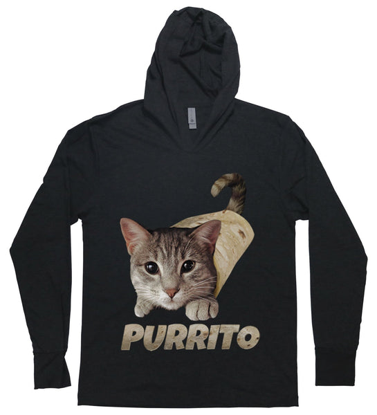 "A cat rolled in a burrito with the words ""purrito"""