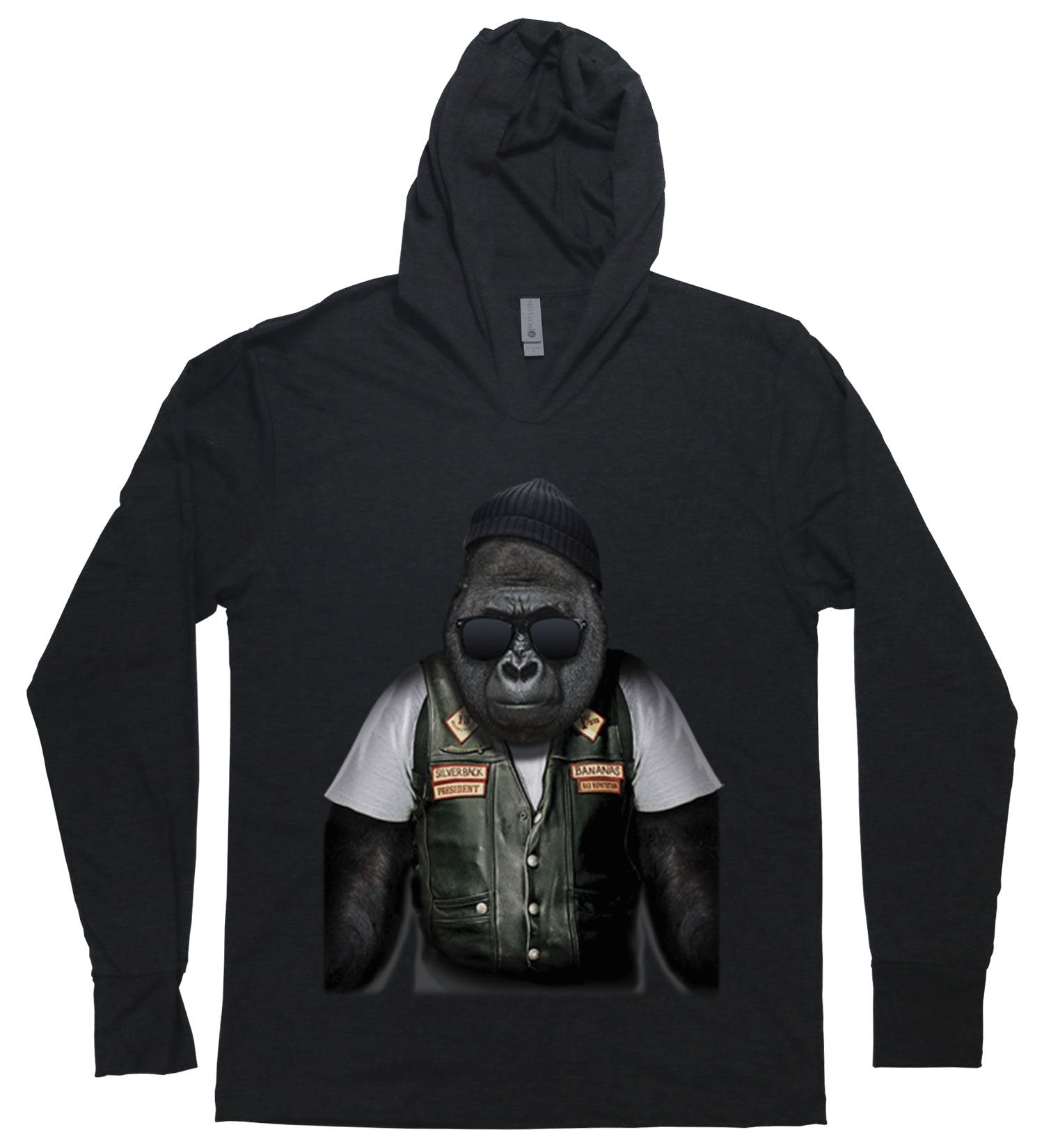 A gorilla dressed as a biker on a hooded long sleeved t-shirt