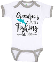 Load image into Gallery viewer, Grandpa's Little Fishing Buddy / Gpa Ringer Onesie
