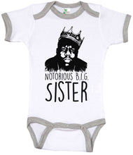 Load image into Gallery viewer, Notorious Big Sister / Big Sis Biggie Smalls Ringer Onesie