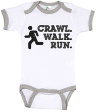 Load image into Gallery viewer, Crawl. Walk. Run. / Sports Ringer Onesie