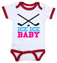 Load image into Gallery viewer, Ice Ice Baby (Pink) / Hockey Ringer Onesie