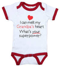 Load image into Gallery viewer, I Can Melt My Grandpa's Heart, What's Your Superpower? / Grandpa Ringer Onesie