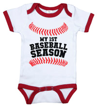 Load image into Gallery viewer, My First Baseball Season / Baseball Ringer Onesie