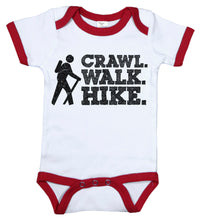 Load image into Gallery viewer, Crawl. Walk. Hike. / Sports Ringer Onesie