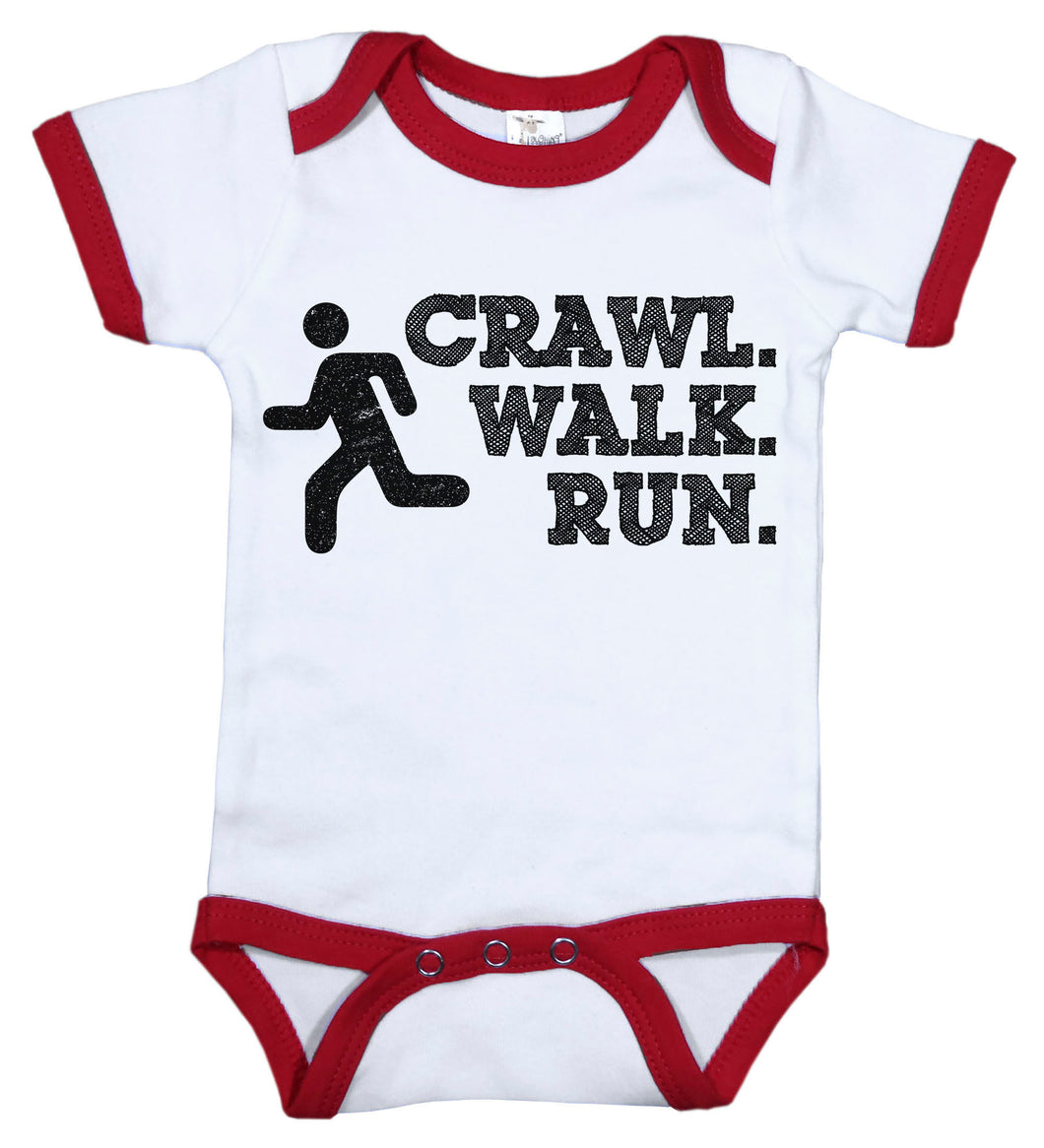 Crawl. Walk. Run. / Sports Ringer Onesie