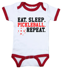 Load image into Gallery viewer, Eat. Sleep. Pickleball. Repeat / Pickleball Ringer Onesie