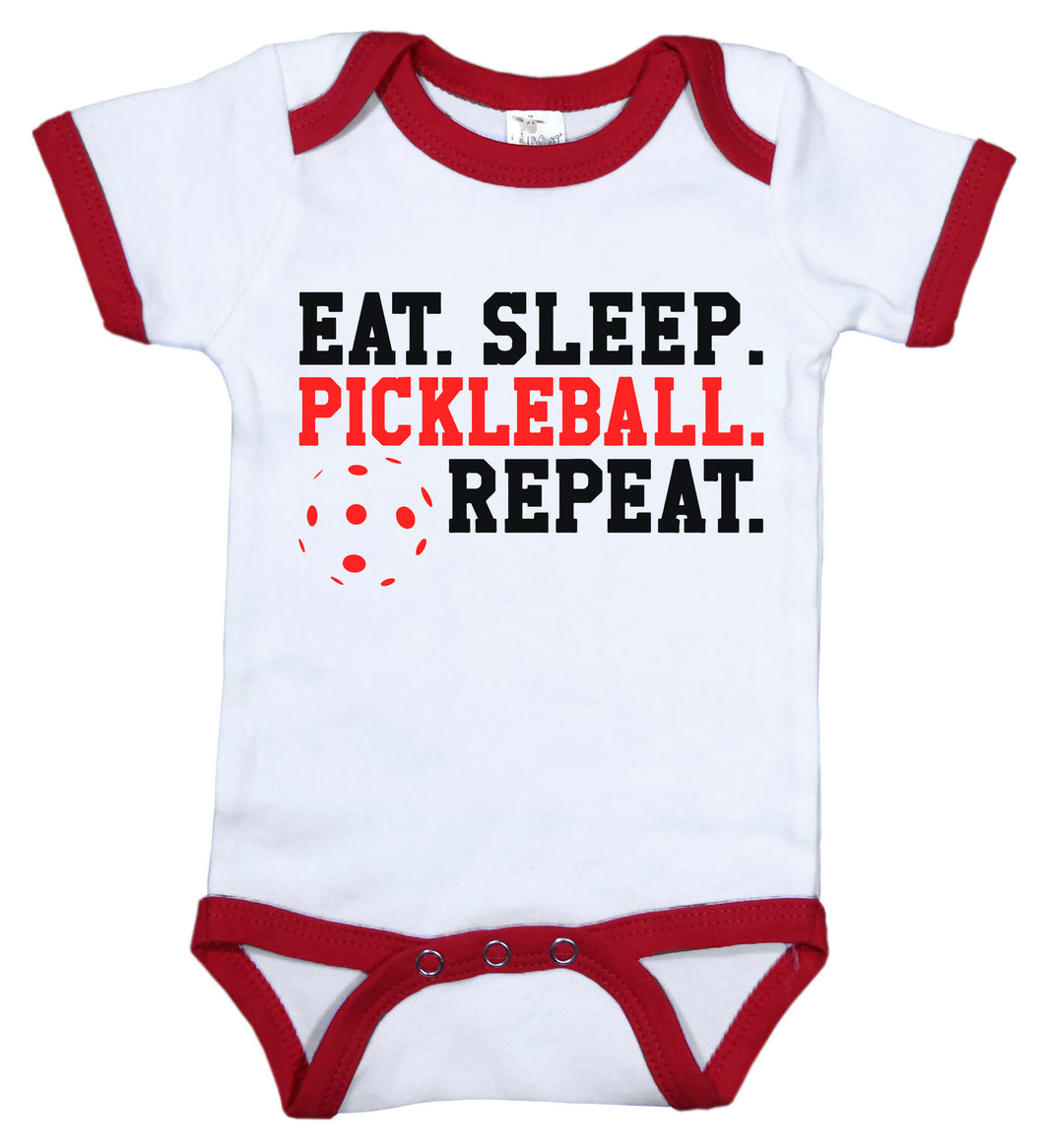 Eat. Sleep. Pickleball. Repeat / Pickleball Ringer Onesie