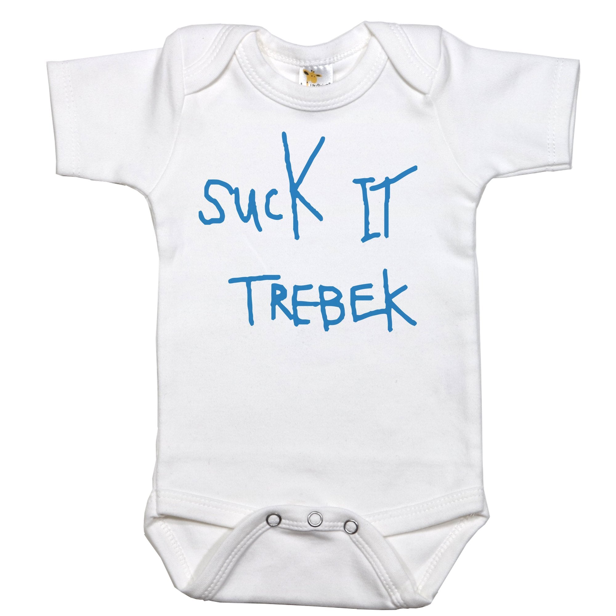 White Onesie with Suck it Trebek Graphic
