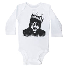 Load image into Gallery viewer, Long Sleeve White Onesie with Biggie Smalls Graphic