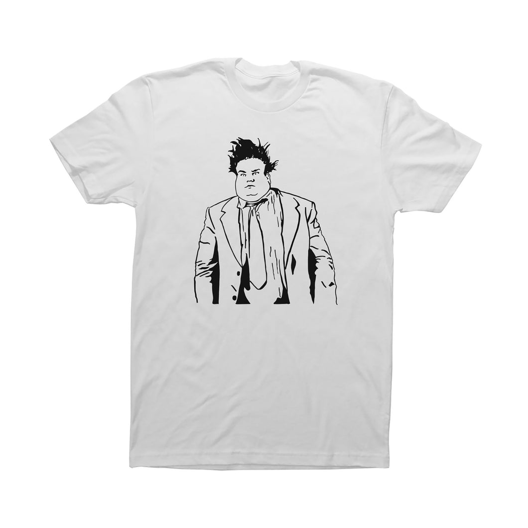 White Adult Unisex T-Shirt with Chris Farley Graphic