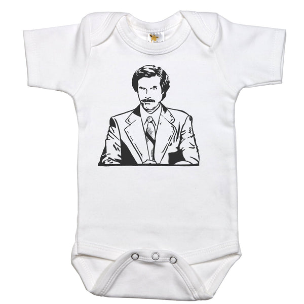 Onesie with Ron Burgundy Graphic