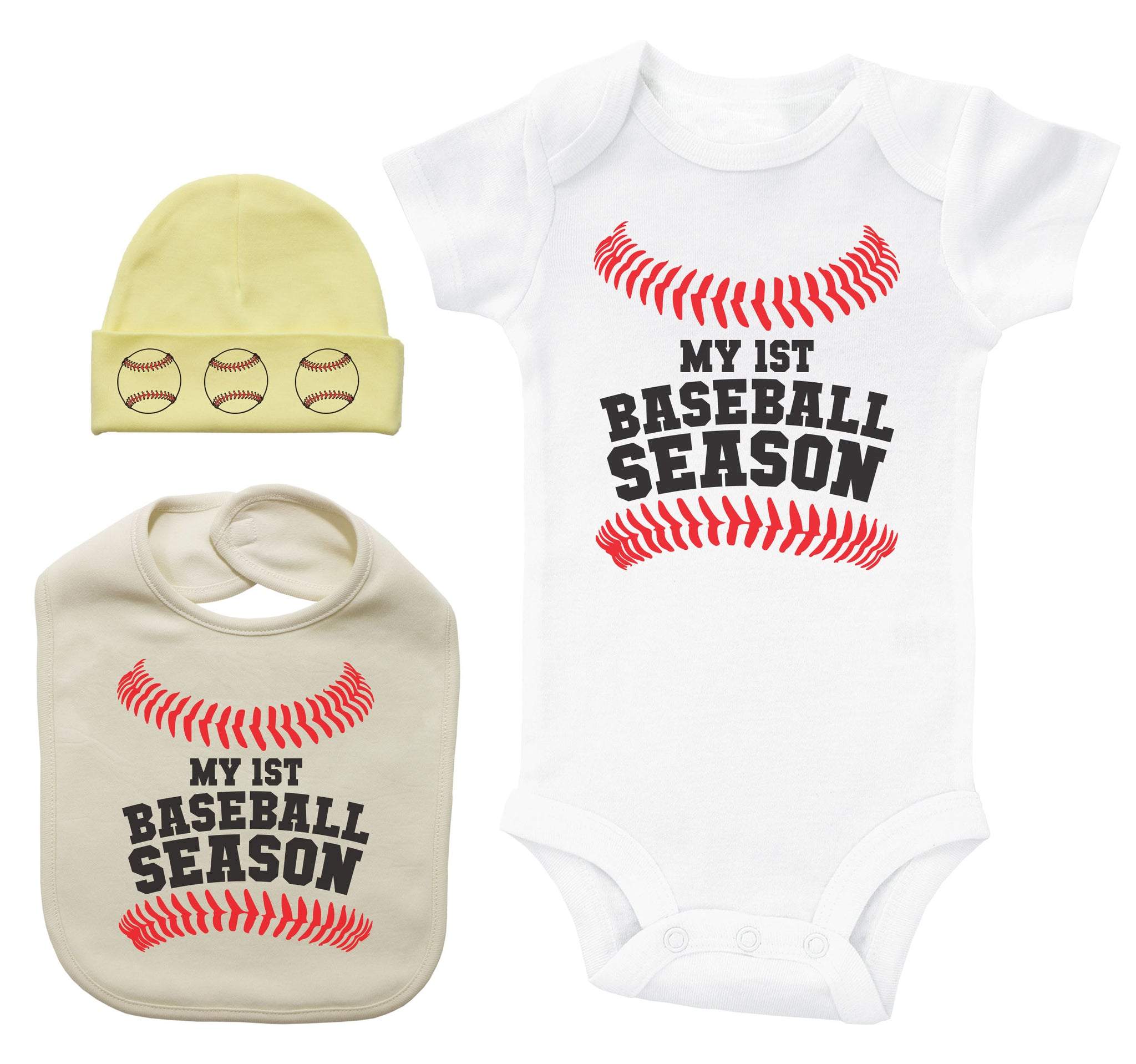 MY FIRST BASEBALL SEASON BUNDLE / Baseball Themed Bib, Hat, & Onesie Bundle