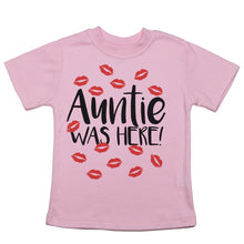 "Load image into Gallery viewer, a shirt that says ""auntie was here"" with red kisses around the text"