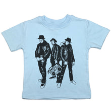 Load image into Gallery viewer, a toddler tee with a drawing of all three members of run dmc