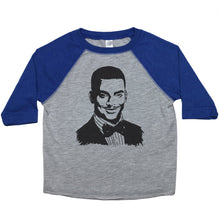 Load image into Gallery viewer, a drawing of Carlton from the Fresh Prince of Bel-Air on a baseball-style shirt for toddlers