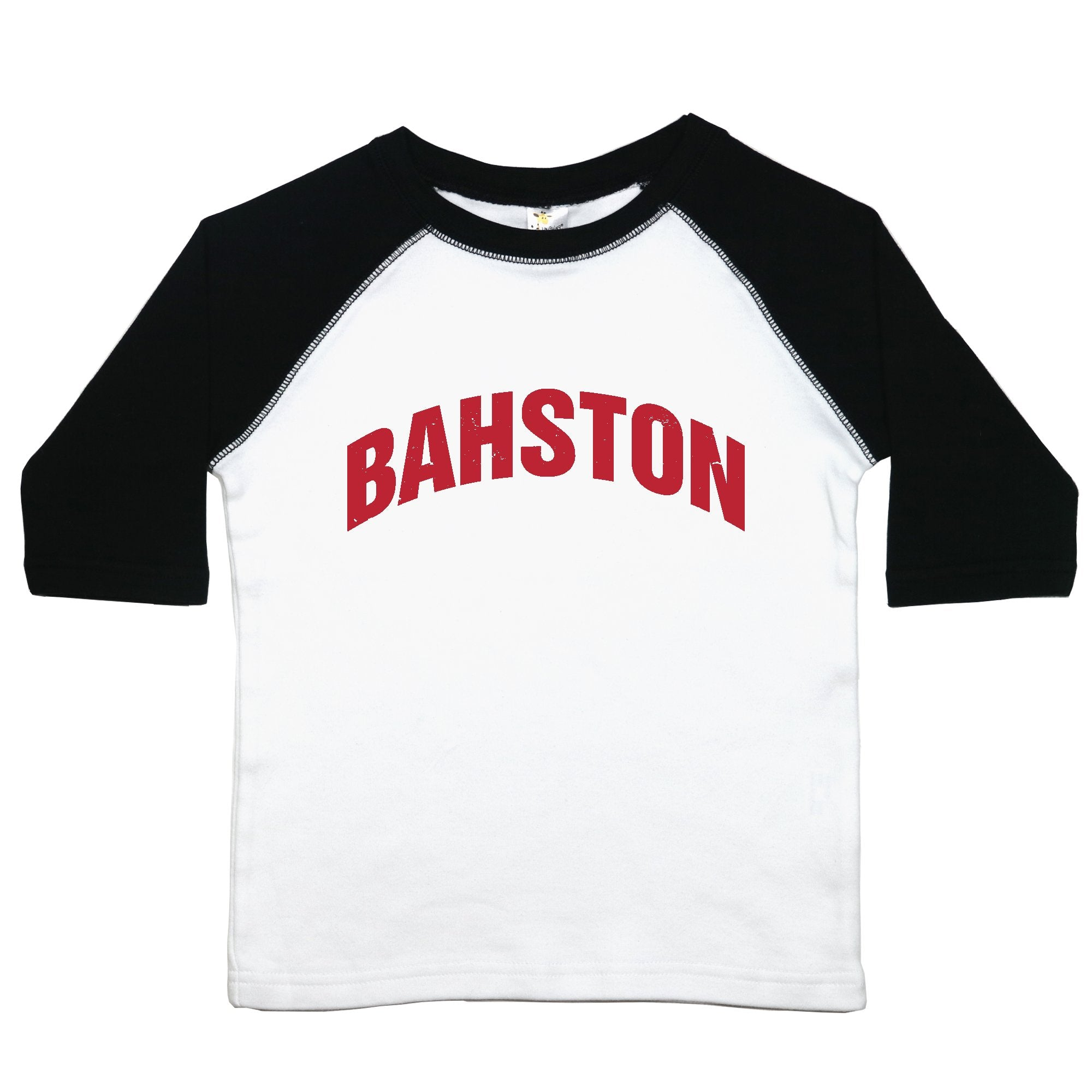 "a toddler tee with the text ""bahston"""