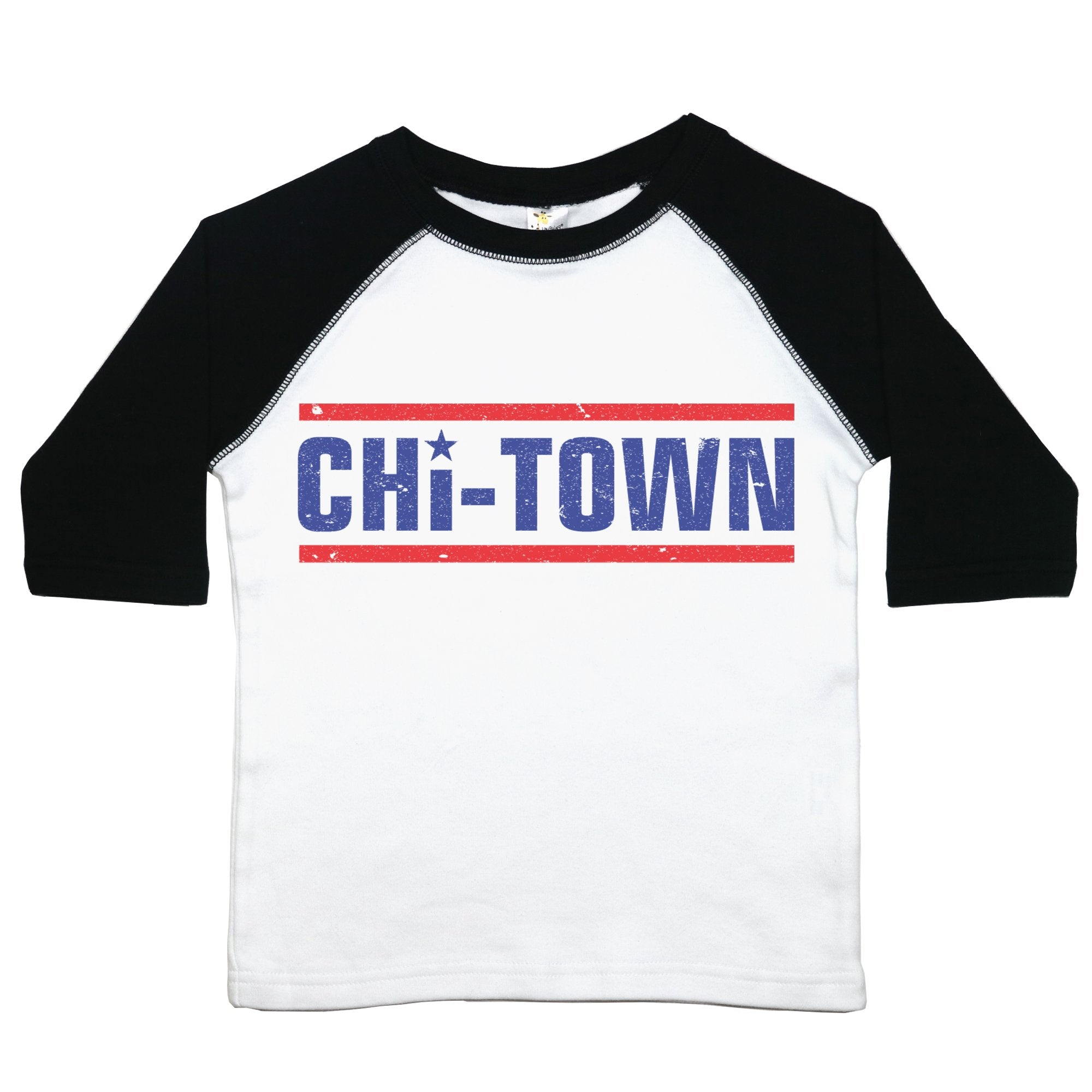 "a toddler tee with the text ""chi-town"" on it. the text is in blue, two lines above and below in red, the letter ""i"" is dotted with a star"