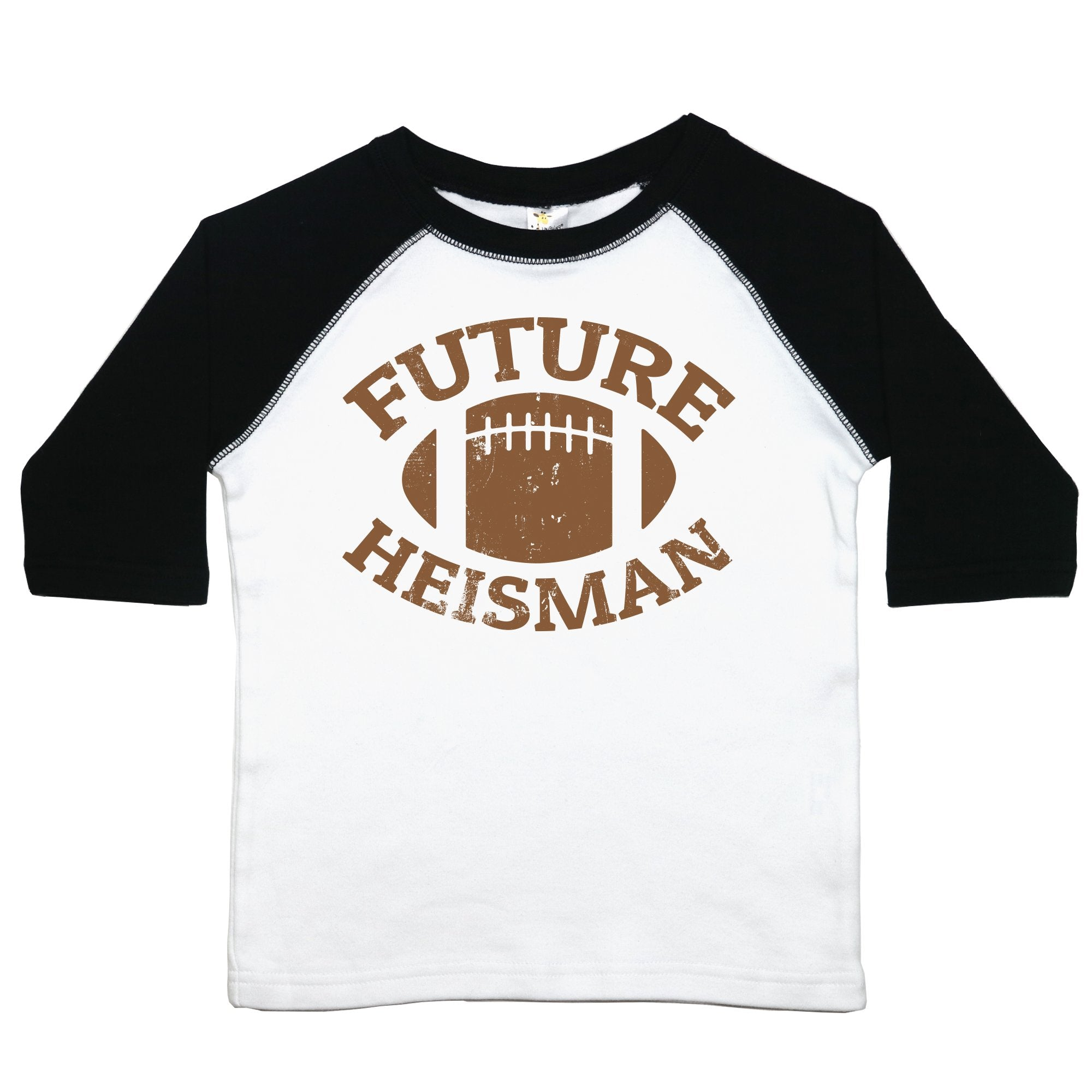 "A toddler tee that reads ""Future Heisman"" with a brown football drawing above it"