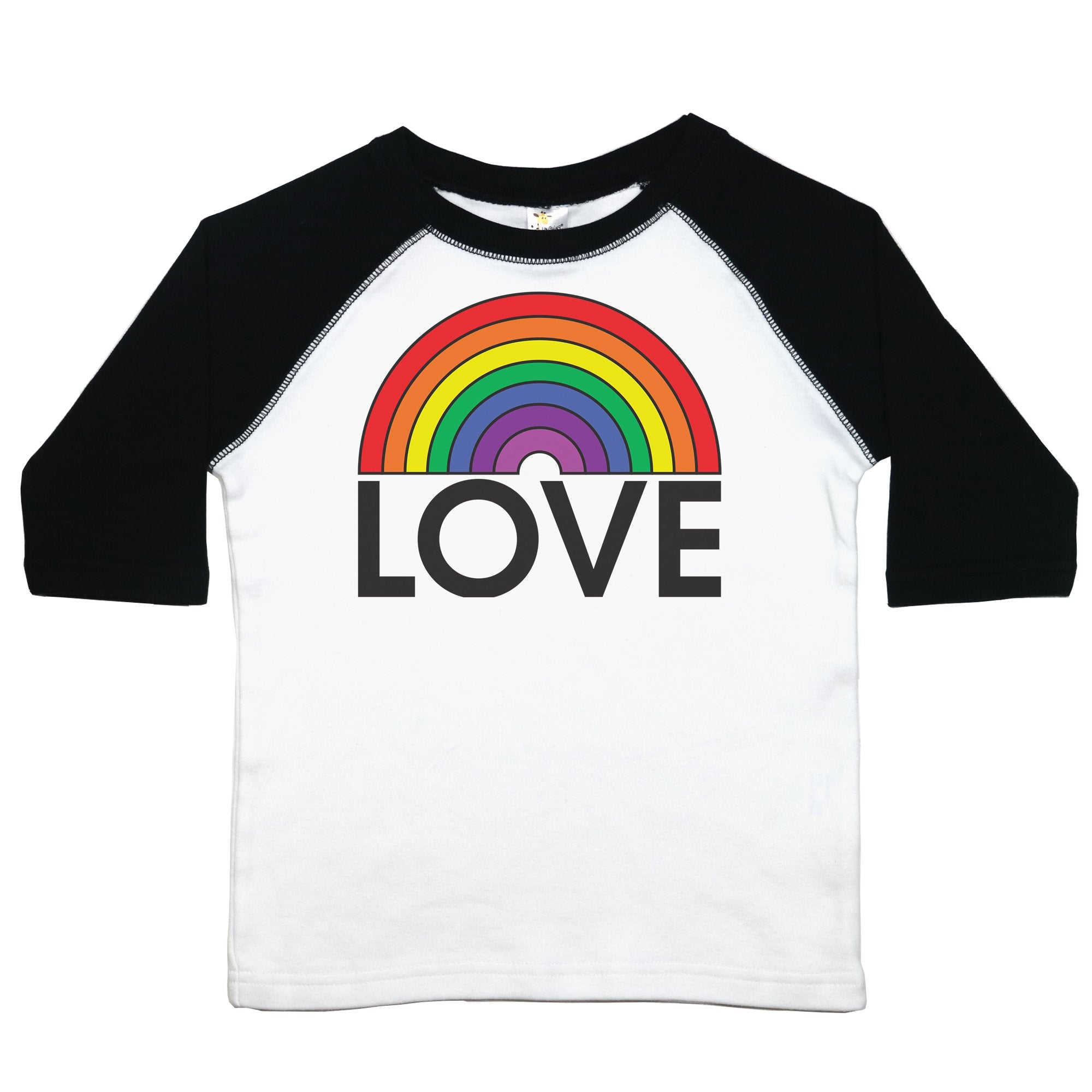 "a toddler tee with the text ""love"" below a rainbow"