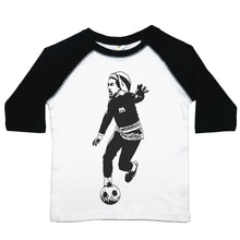 Load image into Gallery viewer, a drawing of bob marley playing soccer